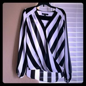 I.N.C striped surplice top